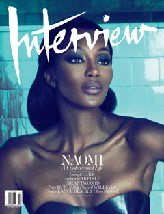 naomi campbell interview magazine cover october 2010 black bustier blue tiles
