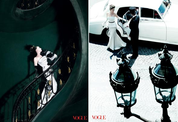 Anne Hathaway Vogue November 2010 cover white gown spiral staircase town car