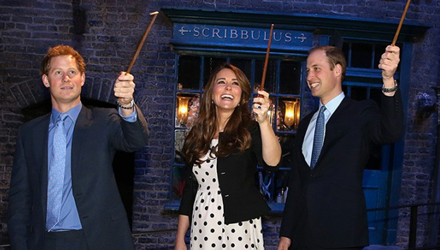 The royals get a wand lesson on Harry Potter Set