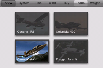 Pick your plane -- X-Plane 9 for iPhone / iPod touch