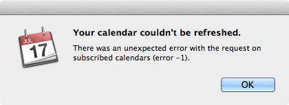 Apple's calendar subscriptions servers unavailable to users
