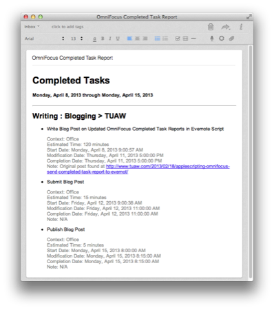 AppleScripting OmniFocus  Send Completed Task Report to Evernote 2