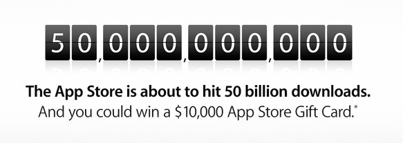 Apple posts 50 billion app countdown