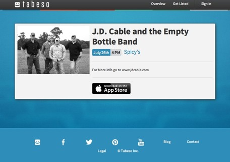 Tabeso is an easy way to find concerts and events near you
