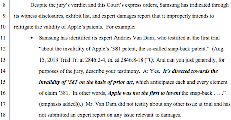 Apple accuses Samsung of trying to include 'prior art' evidence in upcoming damages trial