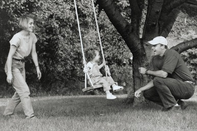 family on swings